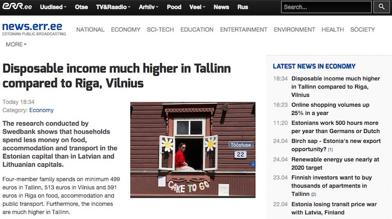 Disposable income much higher in Tallinn
